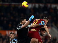 Football, Serie A: AS Roma - S.S. Lazio, Olympic stadium, Rome, January 26, 2020. <br /> Roma's captain Edin Dzeko (c) scores in spite of Lazio's goalkeeper Thomas Strakosha (l) and Francesco Acerbi (r) during the Italian Serie A football match between Roma and Lazio at Olympic stadium in Rome, on January,  26, 2020. <br /> UPDATE IMAGES PRESS/Isabella Bonotto