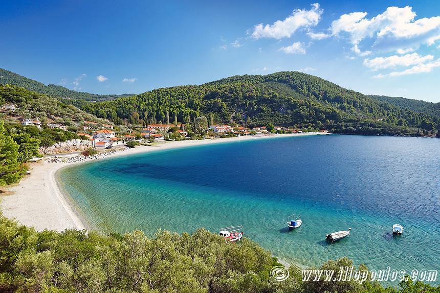 The beach Panormos of Skopelos island, Greece