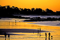 THE PACIFIC SUNSET SILHOUETTES PEOPLE ENJOYNG THE BEACH AT MONTEREY, CALIFORNIA
