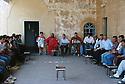 Turkey 1995 Bishop Samuel Aktach welcoming visitors at the monastery of Mar Gabriel  Turquie 1995 L'eveque Samuel Aktach recevant des visiteurs au monastère de Mar Gabriel