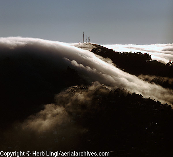 aerial photograph, fog radio towers Marin headlands Sausalito, Marin County, California
