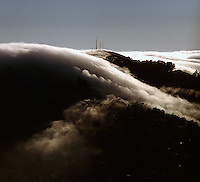 aerial photograph, fog radio towers Marin headlands Sausalito, Marin County, California
