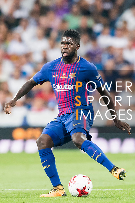 Samuel Umtiti of FC Barcelona in action during their Supercopa de Espana Final 2nd Leg match between Real Madrid and FC Barcelona at the Estadio Santiago Bernabeu on 16 August 2017 in Madrid, Spain. Photo by Diego Gonzalez Souto / Power Sport Images