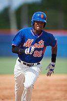 GCL Mets outfielder Dionis Paulino (92) running the bases during the first game of a doubleheader against the GCL Marlins on July 24, 2015 at the St. Lucie Sports Complex in St. Lucie, Florida.  GCL Marlins defeated the GCL Mets 5-4.  (Mike Janes/Four Seam Images)