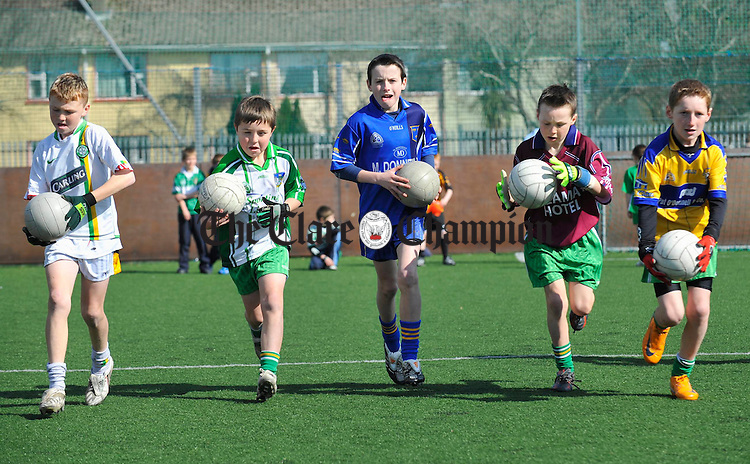 Getting to grips with the skills of football as part of the Wolfe Tones GAA Easter Camp 2008 in Shannon. Photograph by John Kelly.