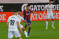 15th march 2021; Camp Nou, Barcelona, Catalonia, Spain; La Liga Football, Barcelona versus Huesca;  Sergio Busquets of Barcelona takes on Mikel Rico of Huesca