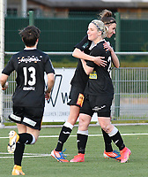 Stephanie Van Gils (27) of Eendracht Aalst congratulates Justine Blave (22) of Eendracht Aalst for her goal during a female soccer game between  Racing Genk Ladies and Eendracht Aalst on the 5 th matchday of play off 2 in the 2020 - 2021 season of Belgian Scooore Womens Super League , friday 7 th of May 2021  in Genk , Belgium . PHOTO SPORTPIX.BE | SPP | JILL DELSAUX