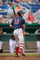 Lowell Spinners center fielder Cole Brannen (18) looks to first during a pickoff attempt throw during a game against the Batavia Muckdogs on July 14, 2018 at Dwyer Stadium in Batavia, New York.  Lowell defeated Batavia 8-4.  (Mike Janes/Four Seam Images)