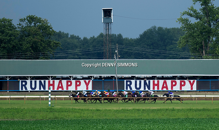Horses compete in the fifth race at Ellis Park in Henderson, Ky., Sunday afternoon, Aug. 9, 2020.