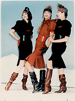 1986 FILE PHOTO - ARCHIVES -<br /> <br /> Thierry Mugler's knee-baring dresses for the thin only had wide shoulders and very narrow cinched waists.<br /> <br /> 1986<br /> <br /> PHOTO :  Erin Comb - Toronto Star Archives - AQP