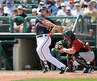 15 March 2009: Infielder Brooks Conrad (68) of the Atlanta Braves hits in a game against the Houston Astros at the Braves' Spring Training camp at Disney's Wide World of Sports in Lake Buena Vista, Fla. Photo by:  Tom Priddy/Four Seam Images
