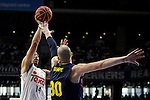 Real Madrid´s Ayon and Barcelona´s Lampe during Liga Endesa Final first match at Palacio de los Deportes in Madrid, Spain. June 19, 2015. (ALTERPHOTOS/Victor Blanco)