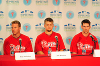 February 14, 2011; Clearwater, FL, USA; Philadelphia Phillies pitcher Roy Halladay (left), Joe Blanton (center) and Cliff Lee at a press conference during spring training at Bright House Networks Field. Mandatory Credit: Mark J. Rebilas-