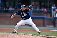 Asheville Tourists pitcher James Lomangino (36) delivers a pitch during game one of a double header against the Greenville Drive on April 18, 2015 in Asheville, North Carolina. The Tourists defeated the Drive 2-1. (Tony Farlow/Four Seam Images)