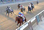 10 October 23: Meese Rocks (no. 10), ridden by Ramon Dominguez and trained by Edward Barker, wins the 32nd running of the Iroquois Stakes for New York bred fillies and mares three years old and upward at Belmont Park in Elmont, New York.  (Bob Mayberger/Eclipse Sportswire)