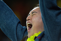 A Chiefs fan celebrates during the Super Rugby Aotearoa match between the Hurricanes and Chiefs at Sky Stadium in Wellington, New Zealand on Saturday, 20 March 2020. Photo: Dave Lintott / lintottphoto.co.nz