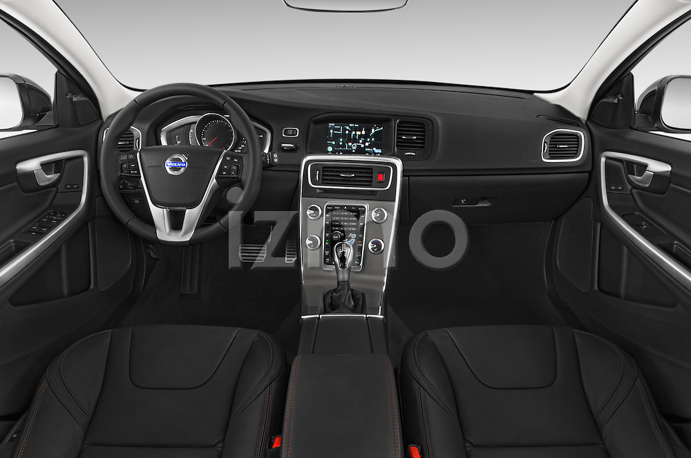 Stock photo of straight dashboard view of 2018 Volvo V60 T5-Cross-Country 5 Door Wagon Dashboard