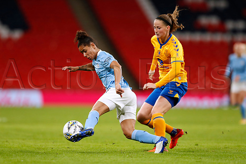 1st November 2020; Wembley Stadium, London, England; Womens FA Cup Final Football, Everton Womens versus Manchester City Womens; Demi Stokes of Manchester City Women turns past Nicoline Sorensen of Everton Women