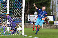 Billy Healey of Wingate & Finchley scores the fourth goal for his team and celebrates during Wingate & Finchley vs Lewes, Pitching In Isthmian League Premier Division Football at the Maurice Rebak Stadium on 3rd October 2020