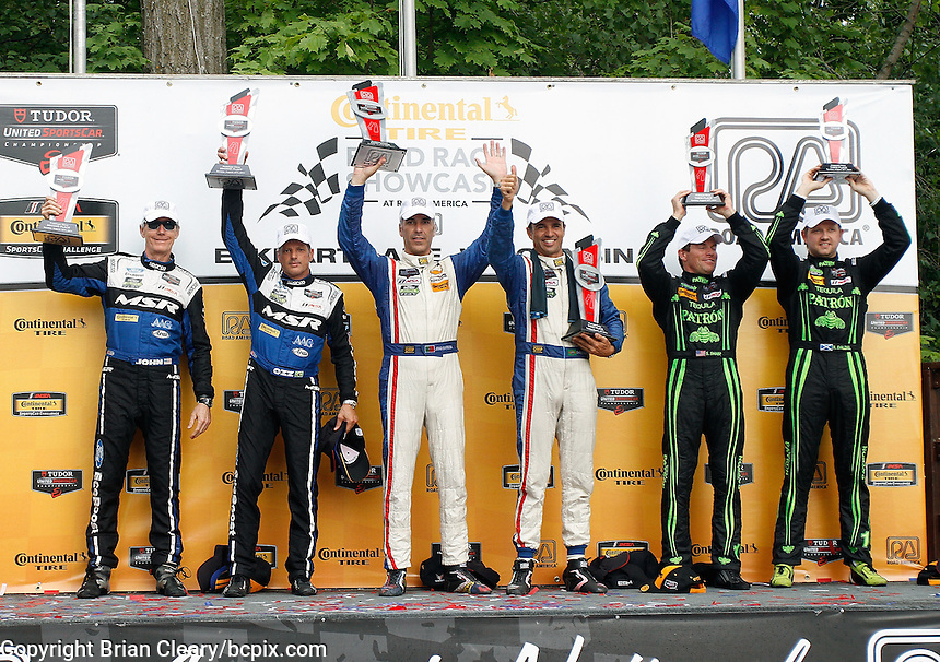 Podium finishers, IMSA Tudor Series Race, Road America, Elkhart Lake, WI, August 2014.  (Photo by Brian Cleary/ www.bcpix.com )
