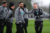 (L-R) Cameron Carter-Vickers and George Byers of Swansea City in action during the Swansea City Training at The Fairwood Training Ground in Swansea, Wales, UK. Wednesday 20February 2019