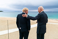 President Joe Biden talks with British Prime Minister Boris Johnson on Thursday, June 10, 2021, at the Carbis Bay Hotel and Estate in Cornwall, England. (Official White House Photo by Adam Schultz)