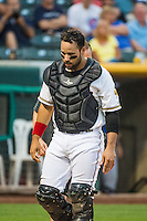 Rafael Lopez (17) of the Salt Lake Bees leaves the game after being injured against the Iowa Cubs in Pacific Coast League action at Smith's Ballpark on August 20, 2015 in Salt Lake City, Utah. The Cubs defeated the Bees 13-2. (Stephen Smith/Four Seam Images)