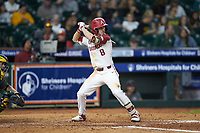 Braydon Webb (8) of the Arkansas Razorbacks at bat against the Baylor Bears in game nine of the 2020 Shriners Hospitals for Children College Classic at Minute Maid Park on March 1, 2020 in Houston, Texas. The Bears defeated the Razorbacks 3-2. (Brian Westerholt/Four Seam Images)