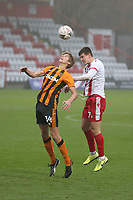 Charlie Carter of Stevenage and Martin Samuelsen of Hull City during Stevenage vs Hull City, Emirates FA Cup Football at the Lamex Stadium on 29th November 2020