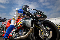 Sept. 1, 2013; Clermont, IN, USA: NHRA pro stock motorcycle rider Shawn Gann during qualifying for the US Nationals at Lucas Oil Raceway. Mandatory Credit: Mark J. Rebilas-