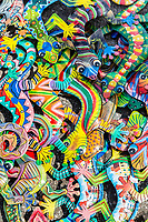 Willemstad, Curacao, Lesser Antilles.  Colorful Carved, Painted Geckos, Souvenirs.