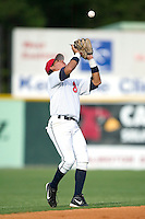 Burlington Indians shortstop Jansy Infante catches a pop fly in first inning action versus the Pulaski Blue Jays at Burlington Athletic Park in Burlington, NC, Saturday, July 29, 2006.  The Indians defeated the Blue Jays by the score of 8-4.