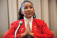 Switzerland. Geneva. World Health Organisation (WHO). Stop TB Partnership. Workshop. National ambassador against tuberculosis: Gerry Elsdon, South Africa, TV presenter. 5.12.2011 © WHO /Didier Ruef ....