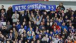 Rangers fans celebrating promotion back to the Premiership