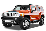 Low aggressive front three quarter view of a 2008 Hummer H3 Alpha SUV.
