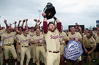 Quincy Nieporte (29) of the Florida State Seminoles hoists the championship trophy into the air following the win over the North Carolina Tar Heels during the 2017 ACC Baseball Championship Game at Louisville Slugger Field on May 28, 2017 in Louisville, Kentucky.  The Seminoles defeated the Tar Heels 7-3.  (Brian Westerholt/Four Seam Images)