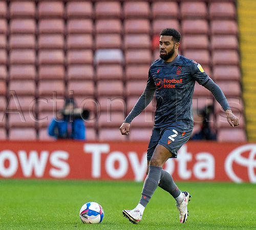21st November 2020, Oakwell Stadium, Barnsley, Yorkshire, England; English Football League Championship Football, Barnsley FC versus Nottingham Forest; Cyrus Christie of Nottingham Forrest with the ball at his feet