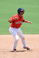 GCL Red Sox third baseman Victor Acosta (23) leads off second during a game against the GCL Rays on June 25, 2014 at JetBlue Park at Fenway South in Fort Myers, Florida.  GCL Red Sox defeated the GCL Rays 7-0.  (Mike Janes/Four Seam Images)
