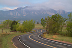 Rainy, mountain road in Boulder, Colorado, .  John leads private photo tours in Boulder and throughout Colorado. Year-round.