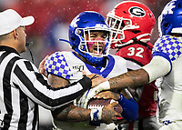 ATHENS, GA - OCTOBER 19: Lynn Bowden Jr. #1 of the Kentucky Wildcats celebrates after a run during a game between University of Kentucky Wildcats and University of Georgia Bulldogs at Sanford Stadium on October 19, 2019 in Athens, Georgia.
