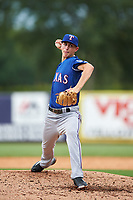 Pitcher George Kirby (17) of Rye High School in Rye, New York playing for the Texas Rangers scout team during the East Coast Pro Showcase on July 28, 2015 at George M. Steinbrenner Field in Tampa, Florida.  (Mike Janes/Four Seam Images)