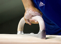 Danell Leyva's hand is pictured holding on pommel horse during practice before the 2012 US Olympic Trials competition at HP Pavilion in San Jose, California on June 28th, 2012.