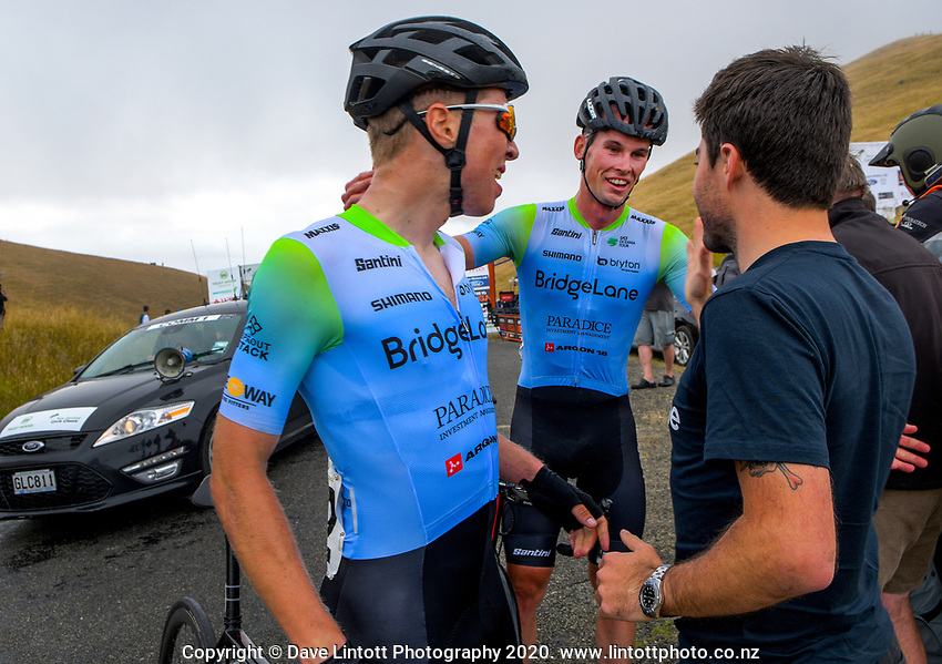Rylee Field (centre) and Kees Duyvesteyn (New Zealand/Team BridgeLane) celebrate taking the top two placings in stage four of the NZ Cycle Classic UCI Oceania Tour (Te Wharau-Admiral Hill Queen Stage) in Wairarapa, New Zealand on Saturday, 18 January 2020. Photo: Dave Lintott / lintottphoto.co.nz