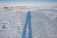 hotographer's shadow follows Paul Gebhart on the Unalakleet slough ice after leaving Unalakleet in Arctic Alaska during the 2010 Iditarod