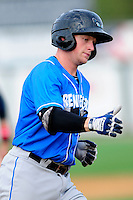 Hudson Valley Renegades designated hitter Alex Schmidt (4) rounds third base after hitting a home run during a game versus the Lowell Spinners at Lelacheur Park on August 30, 2015 in Lowell, Massachusetts.  (Ken Babbitt/Four Seam Images)