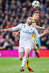 Daniel Carvajal Ramos of Real Madrid  (front) fights for the ball with Mario Mandzukic of Juventus (back) during the UEFA Champions League 2017-18 quarter-finals (2nd leg) match between Real Madrid and Juventus at Estadio Santiago Bernabeu on 11 April 2018 in Madrid, Spain. Photo by Diego Souto / Power Sport Images