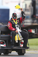 Sep 5, 2020; Clermont, Indiana, United States; NHRA funny car driver Matt Hagan celebrates after winning the delayed Summer Nationals during qualifying for the US Nationals at Lucas Oil Raceway. Mandatory Credit: Mark J. Rebilas-USA TODAY Sports