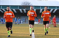 Assistant referee Ercan Eray, match referee Anthony Letellier and assistant referee Thibault Holvoet pictured during the warm up before a female soccer game between FC Femina White Star Woluwe and KRC Genk on the third matchday of play off 2 in the 2020 - 2021 season of Belgian Scooore Womens Super League , Friday 23 th of April 2021  in Woluwe , Belgium . PHOTO SPORTPIX.BE | SPP | SEVIL OKTEM