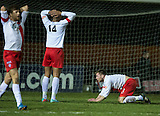 17.02.2015  Berwick Rangers v Spartans, Scottish Cup 5th Round Replay  ..................   DEJECTION FOR JACK NIXON (2) AND SPARTANS AFTER HIS SHOT HIT THE BAR