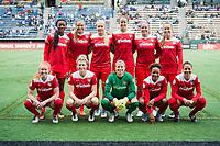 Seattle, WA -Saturday May 13, 2017: Washington Spirit Starting Eleven during a regular season National Women's Soccer League (NWSL) match between the Seattle Reign FC and the Washington Spirit at Memorial Stadium.